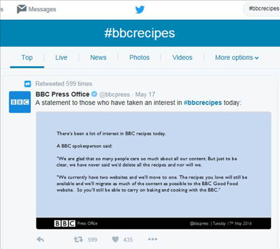 Bbc recipes website saved by social media noa packaging twitter hashtag image showing social media pressure to save bbc recipes website forumfinder Choice Image